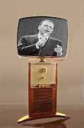 Microphone Prints - Retro Sinatra On TV Print by Matthew Bamberg
