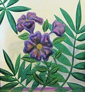 Purple Glass Carved Flowers Posters - Reverse Painted Carved Florals on Glass Poster by Judy Via-Wolff