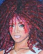Up Painting Prints - Rihanna Print by Shirl Theis