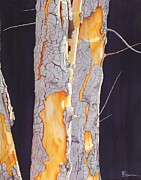 Original Watercolor Paintings - River Birch At Lynx by Robert Hooper