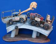 Whimsical Sculpture Metal Prints - Road Rage Metal Print by Stuart Swartz
