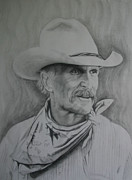 Old West Drawings Prints - Robert DuVall Print by Laurie Penrod