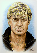 Symbols Drawings Posters - Robert Redford Poster by Andrew Read
