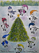 Skates Prints - Rocking Around The Christmas Tree Print by Bonnie Wright