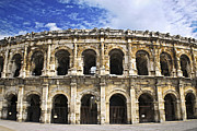 Facade Framed Prints - Roman arena in Nimes France Framed Print by Elena Elisseeva