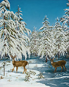 Romance Snow Scene Print by Mary Ann King