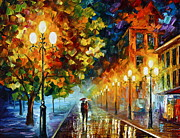 City Tapestries Textiles Originals - Romantic Aura  by Leonid Afremov