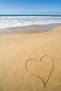 Tranquility Art - Romantic heart drawn in the smooth beach sand by Jose Elias - Sofia Pereira