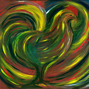Multicolor Paintings - Rooster by Fanny Diaz