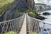 Antrim Framed Prints - Rope Bridge at Carrick-a-Rede in Northern Island Framed Print by Semmick Photo