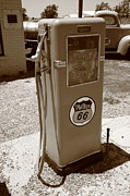 Glass Wall Posters - Route 66 Gas Pump Poster by Frank Romeo