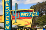 Frank Romeo Framed Prints - Route 66 - Western Motel Framed Print by Frank Romeo