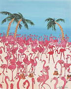 Flamingos Paintings - Royal Roost by Lizi Beard-Ward