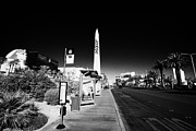 Busstop Prints - rtc deuce sdx bus stop outside the luxor hotel on Las Vegas boulevard Nevada USA Print by Joe Fox