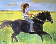 Horse And Rider Prints - Run Like the WInd Print by Judy Kay