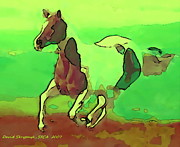 Rodeo Art Digital Art Posters - Running Horse Poster by David Skrypnyk