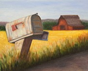 Mail Box Painting Framed Prints - Rural Route 1 Framed Print by Kira Fluer Olshefski