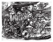 Zombies Drawings Prints - Rush Hour Print by Michael Mynatt