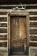Hunting Cabin Framed Prints - Rustic Cabin Door Framed Print by John Stephens