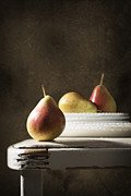 Dark Background Posters - Rustic Pears Poster by Christopher and Amanda Elwell