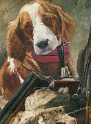 Sport Paintings - Rusty - A Hunting Dog by Mary Ellen Anderson
