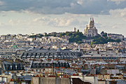 Sacre Coeur Photos - Sacre Coeur over rooftops by Gary Eason