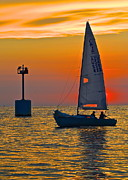 Layered Framed Prints - Sailboat Sunset Framed Print by Robert Harmon