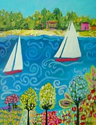 Karen Fields - 2 Sailboats In The...