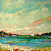Karen Fields - 2 Sailboats on the Bay