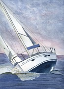 Sailing Drawings Metal Prints - Sailing Metal Print by Eva Ason
