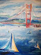 San Francisco Bay Drawings Prints - Sailing Under the Golden Gate Print by Eric  Schiabor