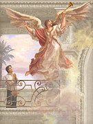 Guardian Angel Painting Posters - Saint Lorenzo Ruiz and Angel Poster by John Alan  Warford