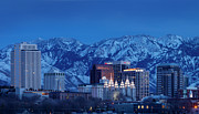 Snowy Night Night Photo Prints - Salt Lake City Print by Brian Jannsen