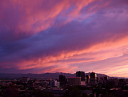 Bright Pink Framed Prints - Salt Lake City Sunset Framed Print by Rona Black