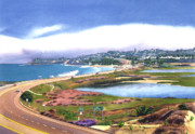 Lagoon Painting Prints - San Elijo and Hwy 101 Print by Mary Helmreich