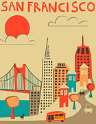 San Francisco Skyline Digital Art Prints - San Francisco Print by Jazzberry Blue