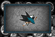 Puck Prints - San Jose Sharks Print by Joe Hamilton