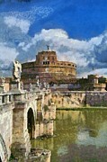 Central Paintings - Sant Angelo castle in Rome by George Atsametakis