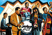 Free Jazz Prints - Saratoga Jazz Print by Everett Spruill