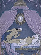 Bedroom Lovers Posters - Scene from Les Liaisons Dangereuses Poster by Georges Barbier