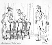 Dining Room Drawings Framed Prints - Scene from Pride and Prejudice by Jane Austen Framed Print by Hugh Thomson