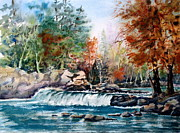 Beautiful Creek Painting Originals - Scenic Falls by Mohamed Hirji