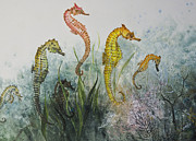 Gyotaku Prints - Sea Horses Print by Nancy Gorr