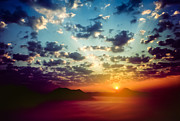 Hill Prints - Sea of clouds on sunrise with ray lighting Print by Setsiri Silapasuwanchai
