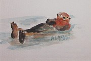 Otter Paintings - Sea Otter by Andrea Flint Lapins
