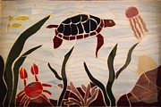 Coral Glass Art - Sea Turtle by Kathy Mote