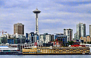 Space Needle Framed Prints Posters - Seattle Waterfront Poster by Ron Roberts