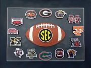 Football Paintings - Sec by Herb Strobino