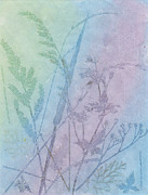 Pink Reliefs Prints - Seed grasses Print by Suzette Broad