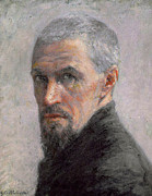 Grey Fine Art Posters - Self Portrait Poster by Gustave Caillebotte